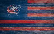 "Columbus Blue Jackets 11"" x 19"" Distressed Flag Sign"