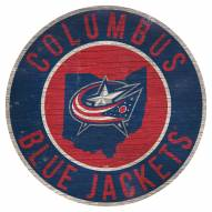 "Columbus Blue Jackets 12"" Circle with State Sign"