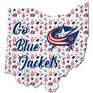 "Columbus Blue Jackets 12"" Floral State Sign"