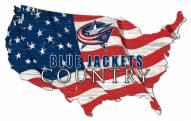 "Columbus Blue Jackets 15"" USA Flag Cutout Sign"