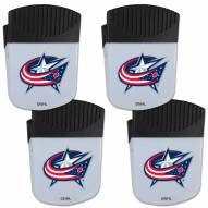 Columbus Blue Jackets 4 Pack Chip Clip Magnet with Bottle Opener