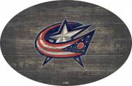 "Columbus Blue Jackets 46"" Distressed Wood Oval Sign"