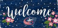 "Columbus Blue Jackets 6"" x 12"" Floral Welcome Sign"