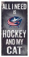 "Columbus Blue Jackets 6"" x 12"" Hockey & My Cat Sign"