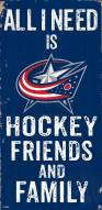 "Columbus Blue Jackets 6"" x 12"" Friends & Family Sign"