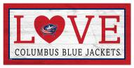 "Columbus Blue Jackets 6"" x 12"" Love Sign"