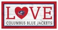 "Columbus Blue Jackets 6"" x 12"" Love Sign"