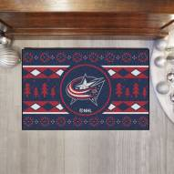 Columbus Blue Jackets Christmas Sweater Starter Rug
