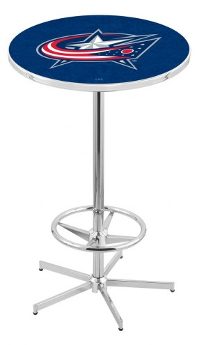 Columbus Blue Jackets Chrome Bar Table with Foot Ring