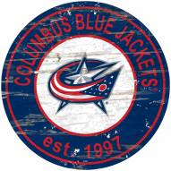 Columbus Blue Jackets Distressed Round Sign