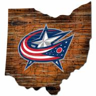 Columbus Blue Jackets Distressed State with Logo Sign