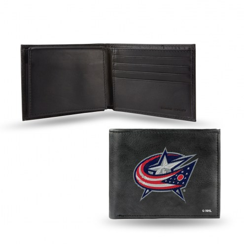 Columbus Blue Jackets Embroidered Leather Billfold Wallet
