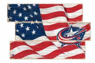 Columbus Blue Jackets Flag 3 Plank Sign