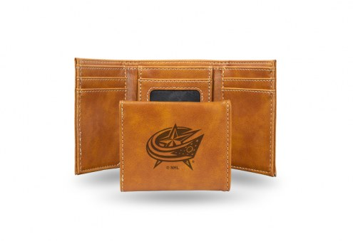 Columbus Blue Jackets Laser Engraved Brown Trifold Wallet