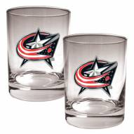 Columbus Blue Jackets NHL Rocks Glass - Set of 2