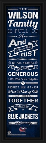 Columbus Blue Jackets Personalized Family Cheer Framed Art