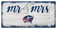 Columbus Blue Jackets Script Mr. & Mrs. Sign