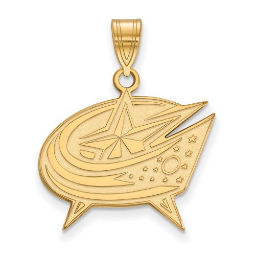 Columbus Blue Jackets Sterling Silver Gold Plated Large Pendant
