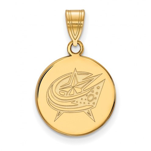 Columbus Blue Jackets Sterling Silver Gold Plated Medium Disc Pendant