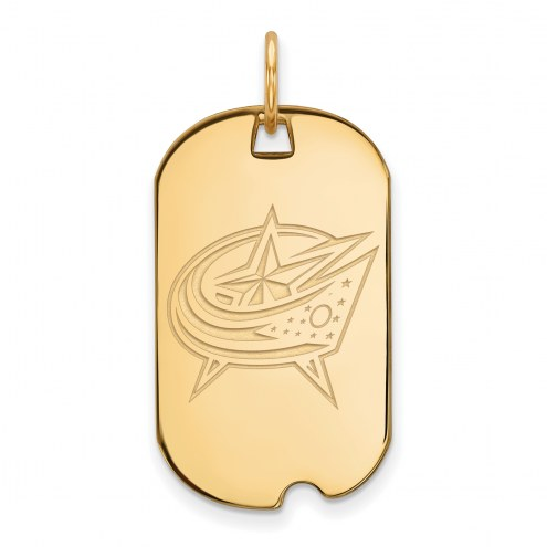 Columbus Blue Jackets Sterling Silver Gold Plated Small Dog Tag