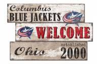 Columbus Blue Jackets Welcome 3 Plank Sign