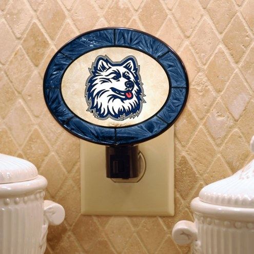 Connecticut Huskies Art Glass Night Light