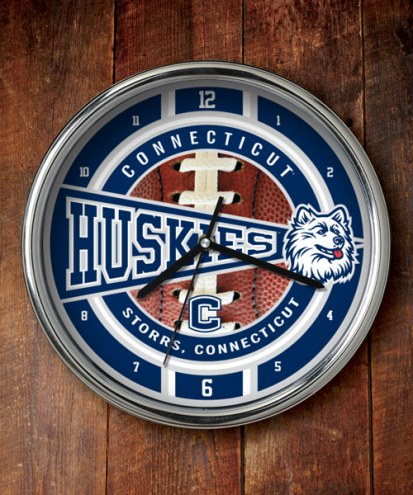 Connecticut Huskies Chrome Wall Clock