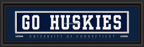 "Connecticut Huskies ""Go Huskies"" Stitched Jersey Framed Print"