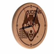 Connecticut Huskies Laser Engraved Wood Clock