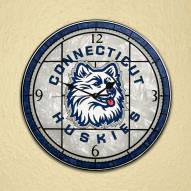 Connecticut Huskies NCAA Stained Glass Wall Clock