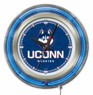 Connecticut Huskies Neon Clock