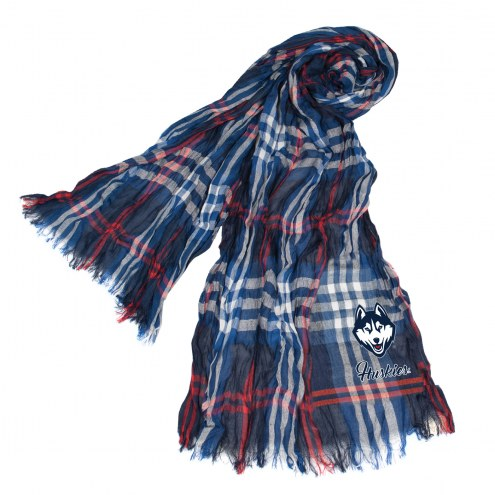 Connecticut Huskies Plaid Crinkle Scarf