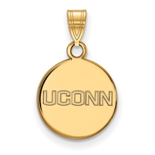 Connecticut Huskies Sterling Silver Gold Plated Small Disc Pendant