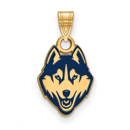 Connecticut Huskies Sterling Silver Gold Plated Small Enameled Pendant