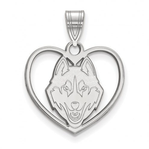 Connecticut Huskies Sterling Silver Heart Pendant