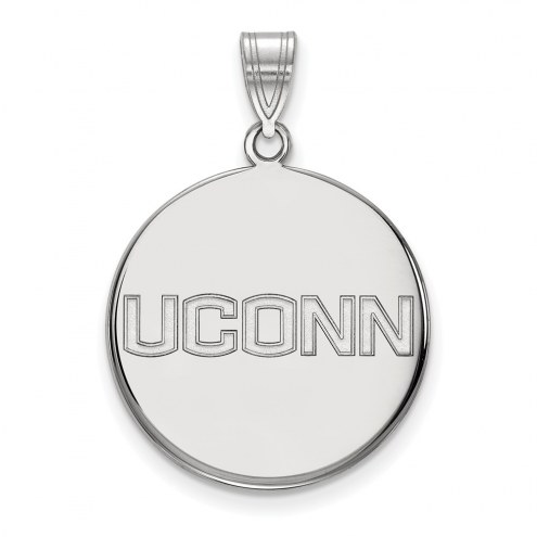 Connecticut Huskies Sterling Silver Large Disc Pendant