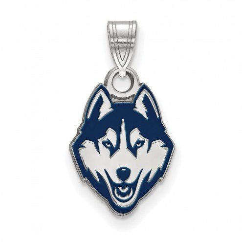 Connecticut Huskies Sterling Silver Small Enamel Pendant