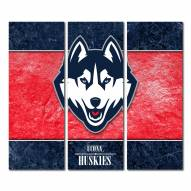 Connecticut Huskies Triptych Double Border Canvas Wall Art