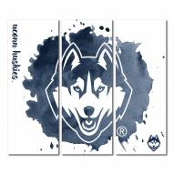Connecticut Huskies Triptych Watercolor Canvas Wall Art