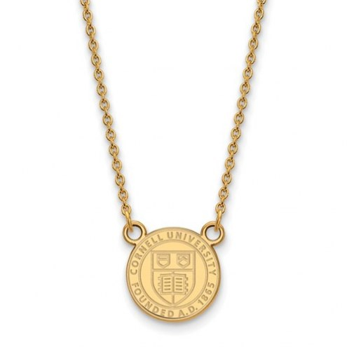 Cornell Big Red College Sterling Silver Gold Plated Small Pendant with Necklace