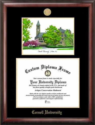 Cornell Big Red Gold Embossed Diploma Frame with Lithograph
