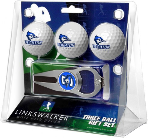 Creighton Bluejays Golf Ball Gift Pack with Hat Trick Divot Tool