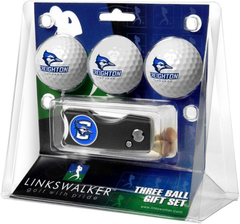 Creighton Bluejays Golf Ball Gift Pack with Spring Action Divot Tool