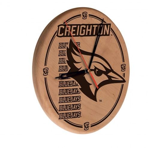 Creighton Bluejays Laser Engraved Wood Clock