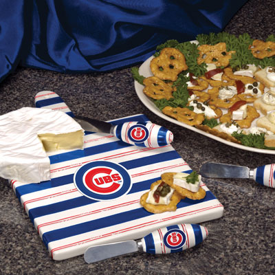 Chicago Cubs MLB Ceramic Cheese Board Set
