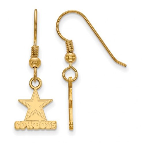 Dallas Cowboys Sterling Silver Gold Plated Extra Small Wire Dangle Earrings
