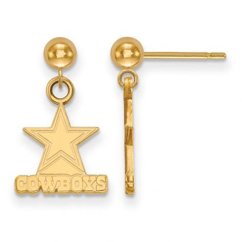 Dallas Cowboys Sterling Silver Gold Plated Dangle Ball Earrings