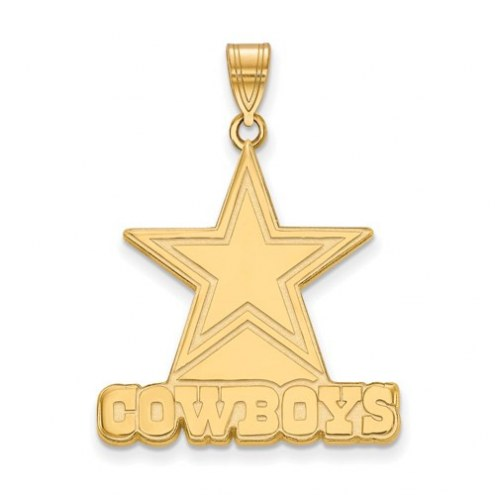 Dallas Cowboys Sterling Silver Gold Plated Extra Large Pendant