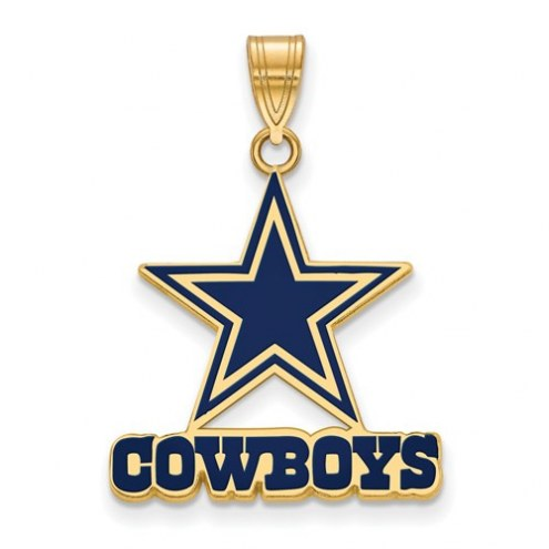Dallas Cowboys Sterling Silver Gold Plated Large Enameled Pendant