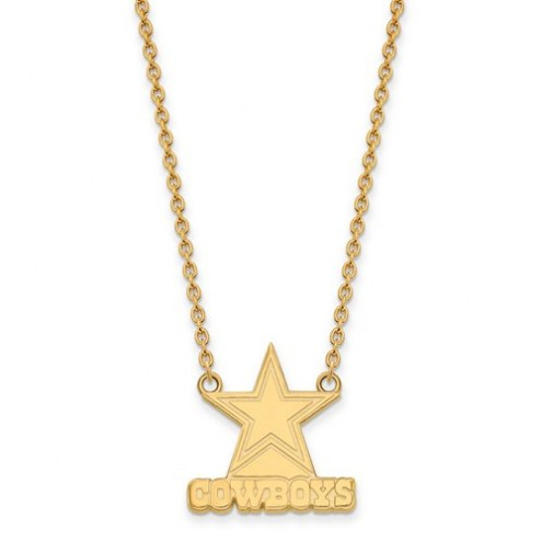 Dallas Cowboys Sterling Silver Gold Plated Large Pendant with Necklace
